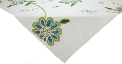 Blue ML12019 36 by 36-Inch Manor Luxe Crewel Embroidered Floral Table Topper