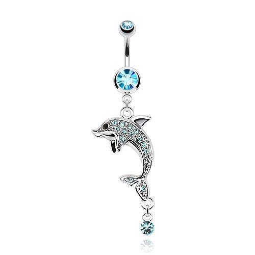 Dolphin Multi Cz Paved Gems 14G Navel Dangle Belly Button Ring 316L Surgical Steel (Aqua)
