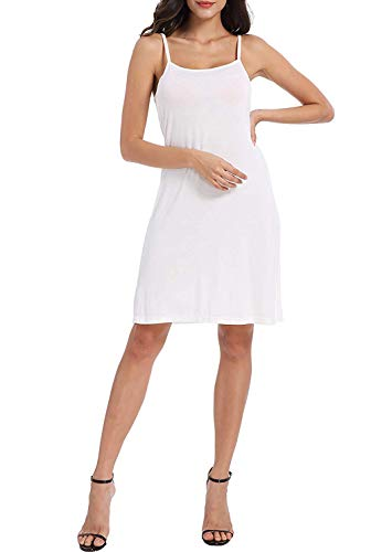 XUJI Women Full Slips Cotton Blend O Neck Straight Dress Nightwear (White-S-XL)
