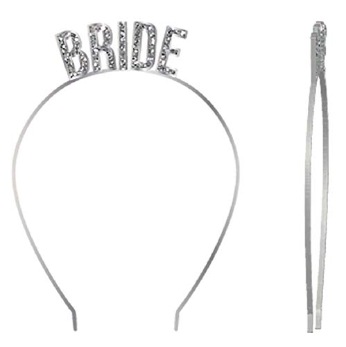 Slant Bride Glittery Silver Party Headband Collections for Bachelorette Parties, Bridal Showers, Etc.