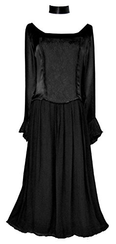 Victorian Valentine Gothic Steampunk Juliet Renaissance Dress Black XL -