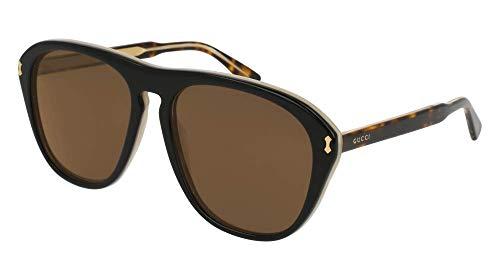 Gucci GG0128S Sunglasses 004 Black/Havana / Brown Lens 56 mm