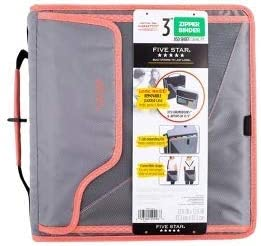 Five Star 3 inch Zipper Binder 850 Sheet Capacity, Gray/Pink