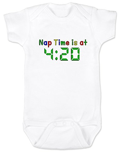 Vulgar Baby Bodysuit, Nap at 420, 0-3 MO, White