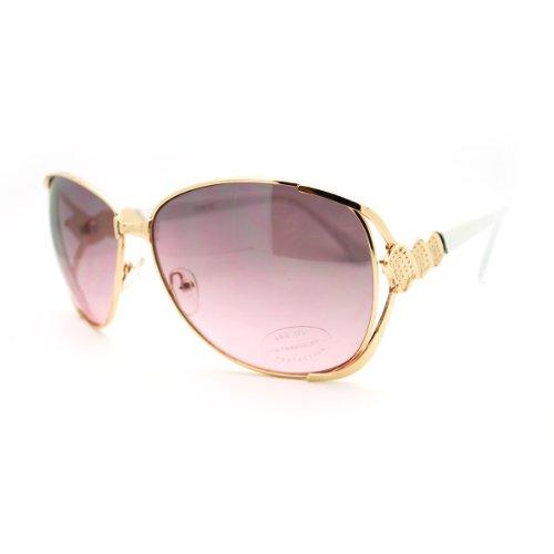Women's Ribbon Emblem Bubble Oversized Butterfly Fashoin Sunglasses - Pink - Sunglasses White Bubble