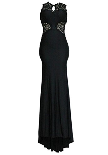 HX Elegant Women's Dinner Long Dress Open Back Fine Flowers Wedding Evening Gown