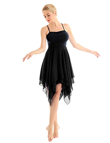 inhzoy Women's Elegant Modern Lyrical Dance Costume Dresses Asymmetric High-Low Contemporary Dancing Dress Black X-Large ()