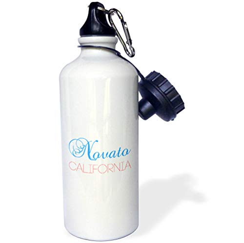3dRose Alexis Design - American Cities California - Novato, California, red, Blue Text. Patriotic Home Town Design - 21 oz Sports Water Bottle (wb_302752_1) -