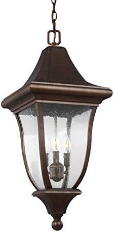 Feiss OL13109PTBZ Oakmont Outdoor Lighting Pendant Lantern, Bronze, 3-Light 12 W x 28 H 180watts