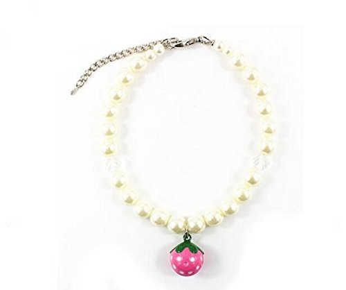 Dogs Kingdom Lovely Strawberry Bell Pearl Necklace For Dog And Cat