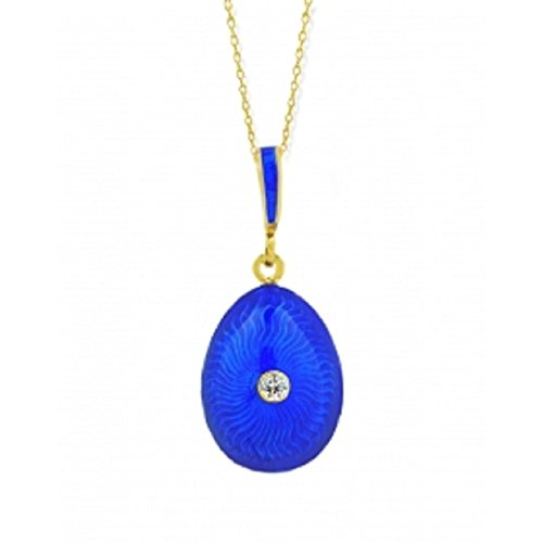 Blue Faberge Style Egg Pendant Sterling Silver 925 Gold plate Hand Enameled 1