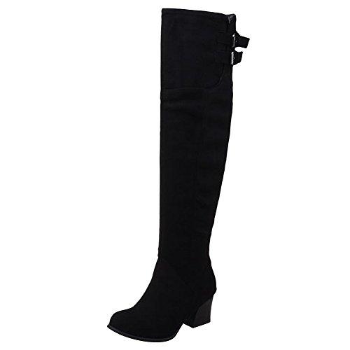Mee Shoes Damen simpel Reißverschluss chunky heels Stiefel Schwarz