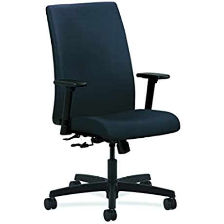HON Ignition Series Mid Back Work Chair Upholstered Computer Chair For Office Desk Navy HIWM1