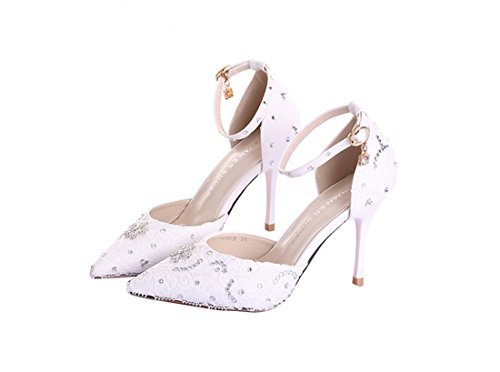 Bridal 14cm White Bridesmaid Buckle LL164 Evening Women's Wedding Shoes Pumps Heel Miyoopark 6tvTg