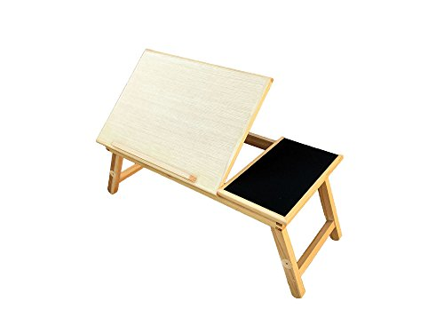 Space Saver Solid Wood Laptop Bed Tray Multiuse Laptop Table Desk W/built-in Mouse Pad Supports up to 18.4' Screen - New Improved Model