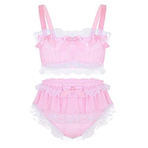 inlzdz Men's Sissy 2 Pieces Lingerie Set Ruffled Lace Crop Top Girly Skirted Panties Nightwear (X-Large, Pink)