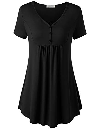 (BAISHENGGT V Neck Tops for Women, Women's Short Sleeve V Neck Front Pleated Flared Comfy Loose Tunic Top Solid Black L)