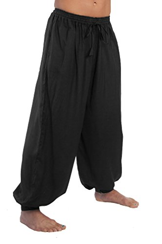 [Dress Like A Pirate Ren Fair LARP Pants Elastic/Drawstring Waist Button Cuffs (S/M, BLACK)] (Pirate Theme Party Costumes)