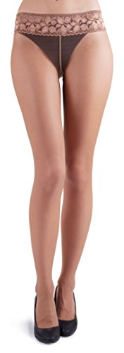 (MARILYN LUXURY LACE TIGHTS 30 DEN (S, Visone - Light Beige))