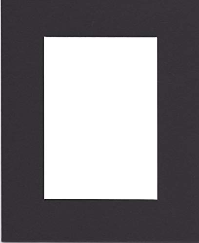Pack of (5) 11x14 Acid Free White Core Picture Mats Cut for 8x10 Pictures in Black]()