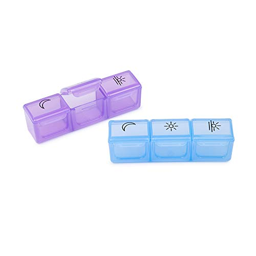 (2 Pack Pill Organizer 3 Times a Day, ONE PIX Small Pill Case (Morning Noon Evening), Daily Pill Box for Vitamin/Fish Oil/Supplements(Blue and Purple) )