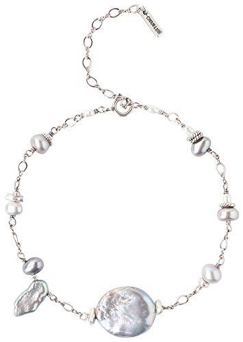 - Chan Luu Sterling Silver Grey Keshi Freshwater Cultured Pearl Chain Bracelet