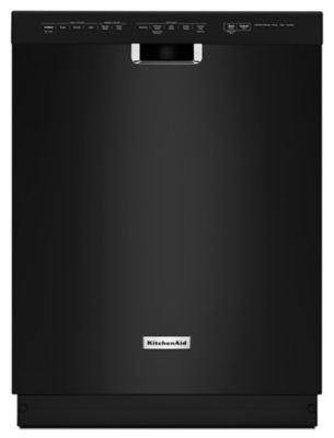 "Black Kitchenaid 24"" 6-cycle/5-option Dishwasher, Pocket Handle"