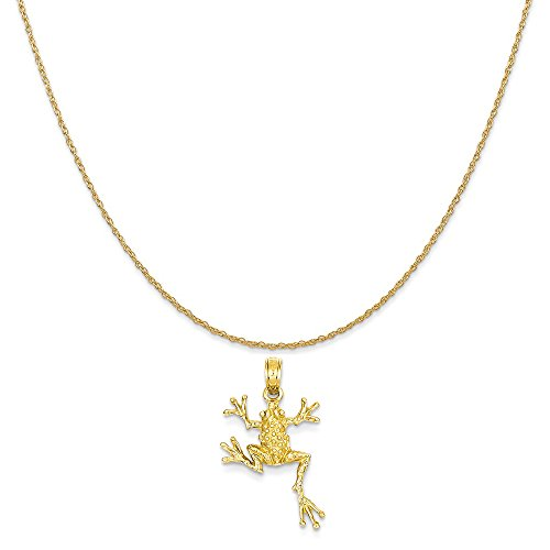 Mireval 14k Yellow Gold Solid Polished Open-Backed Frog Pendant on 14K Yellow Gold Rope Necklace, 18