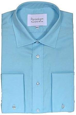 Paradigm Hombre Puño Doble Algodón Puro Sin Plancha Formal Camisas (8501) in Collar Size 14.5 to 23, Blues: Amazon.es: Ropa y accesorios