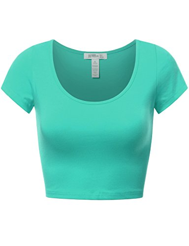 FPT Womens Basic Short Sleeve Scoopneck Crop Top Mint ()