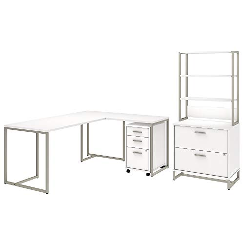 Office by kathy ireland Method 72W L Shaped Desk with 30W Return, File Cabinets and Hutch in White