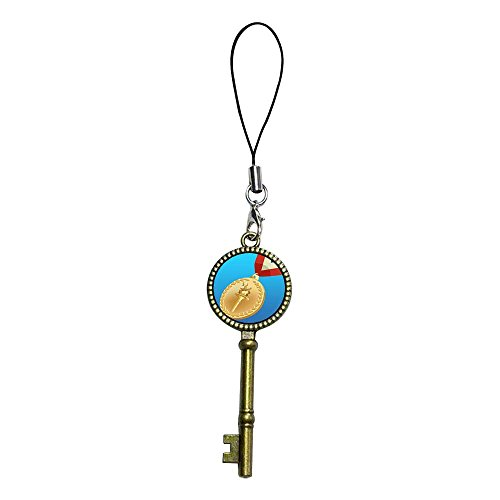 - GiftJewelryShop Ancient Bronze Retro Style gold medal of London 2012 Olympic Games Flower Photo Jewelry Vintage Key Series Strap hanging Chain for Phone Cell Phone Charm
