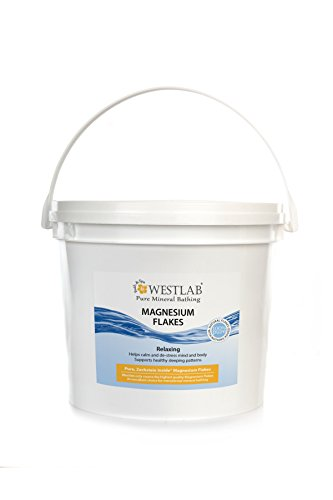 Westlab Pure Zechstein Magnesium Flakes. (1 x Resealable BUCKET 11lb) Natural, certified Zechstein Inside. Absorbs better than Epsom Salt. Transdermal Magnesium for Aching Muscles, Insomnia