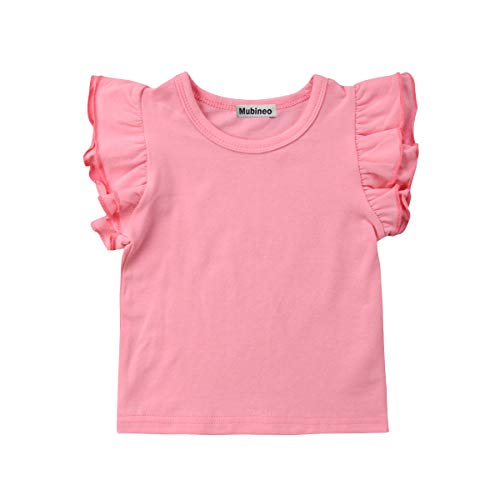 Monsters Inc Outfit (Mubineo Toddler Baby Girl Basic Plain Ruffle Sleeve Cotton T Shirts Tops Tee Clothes (Pink, 0-6)