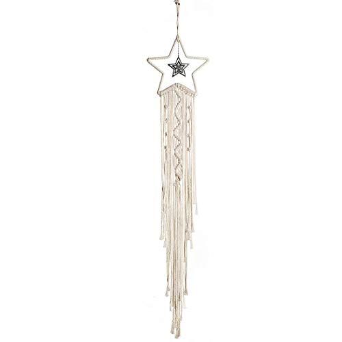 QAZSE Star Shape Dream Catcher Cotton Rope Handmade Woven Tassel Small Macrame Wall Hanging Home Decoration White