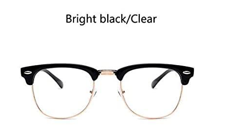 766121a0461b Image Unavailable. Image not available for. Color  KathShop Rivet  Transparent Nerd Glasses Black Half Frame Spectacles Vintage ...