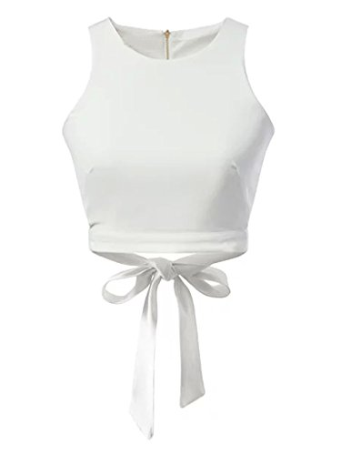 - CR Women Bow Tie Back Cut Out Sleeveless Crop Top,White,Medium