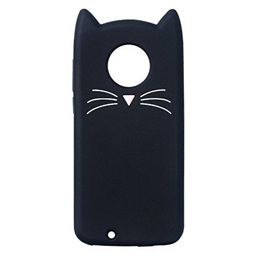 Mulafnxal Case for Motorola Moto E4 Plus,Soft Silicone 3D Cartoon Animal Slim Cover,Cute Cases Kids Girls Shock Proof Rubber Gel Kawaii Character Fashion Protector for Moto E4 Plus + (Black Cat)