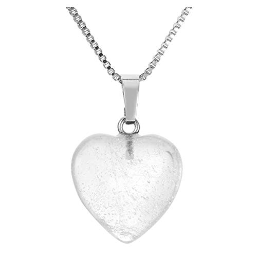 Jovivi Silver Heart Shaped Natural Clear Crystal Quartz Pendant Healing Crystal Chakra Reiki Love Charm Gemstone - Clear Heart Crystal