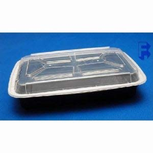 Pactiv Corporation 58 Oz. Black Rectangular Containers - Bases and Lids