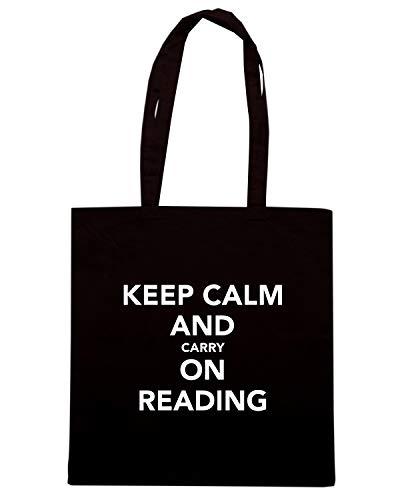 Borsa Shopper Nera TKC1842 KEEP CALM AND CARRY ON READING