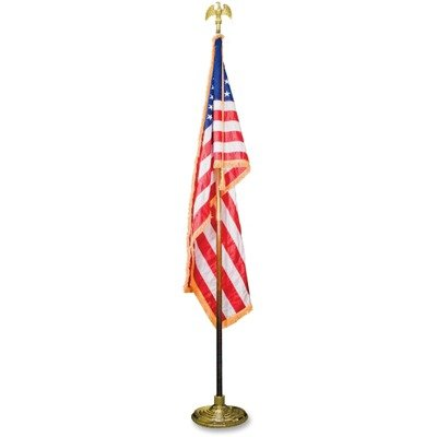 """Indoor 3' x 5' U.S. Flag, 8 ft. Oak Staff, 2"""" Gold Fringe, 7"""" Goldtone Eagle Top by ADVANTUS CORPORATION (Catalog Category: Forms, Record Keeping & Reference / Maps & Globes / Flags)"""