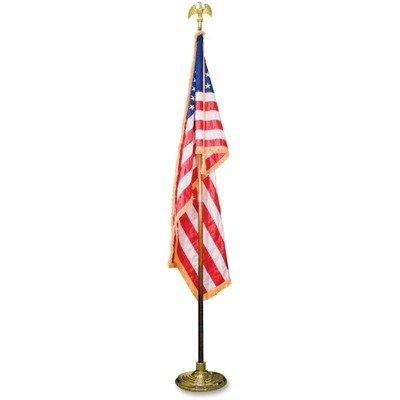 Advantus Indoor U.S. Flag and Staff Set - Indoor 3 x 5 U.S. Flag, 8 ft. Oak Staff, 2quot; Gold Fringe, 7quot; Goldtone Eagle Top