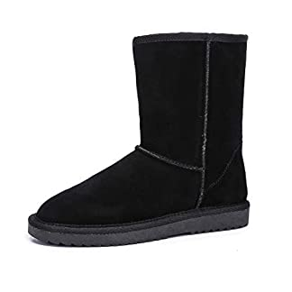 ADUTEE Women's Leather Fully Fur Lined Classic Mid Calf Winter Boot Snow Boot
