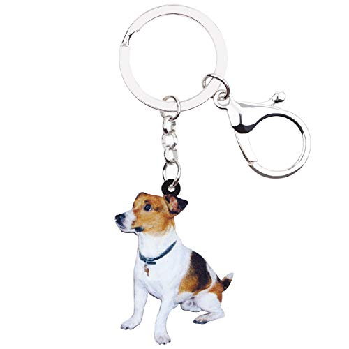 WEVENI Acrylic Sitting Jack Russell Terrier Dog Keychain Fashion Animal Jewelry For Women Girls Bag Charm Pendant Gifts -