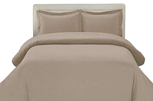 Linentown 600-Thread-Count Egyptian Cotton Duvet Cover Set - Full/Queen, Taupe Solid