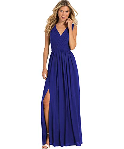 Yilis Women's V Neck A Line Ruched Chiffon Bridesmaid Dress Long Slit Formal Prom Party Gown Royal Blue US14