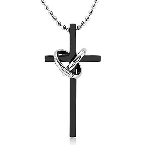 f6347298df15 AnaZoz Collar Acero Inoxidable Collar de Unisex Collar Cruz y Circular  Circonita Blanco Collar Colgante Negro