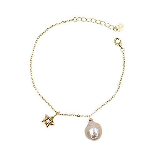 Designer Lee Bracelets (Lee Lee B6813Z-Baroque Pearl Gold Plated Star Bracelet Gift Designer Jewellery)