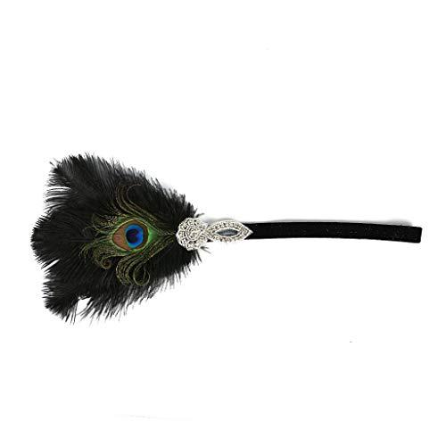 Price comparison product image Zainafacai Hairband,  Flapper Feather Headband 1920s Accessories Crystal Beaded Wedding Headpiece